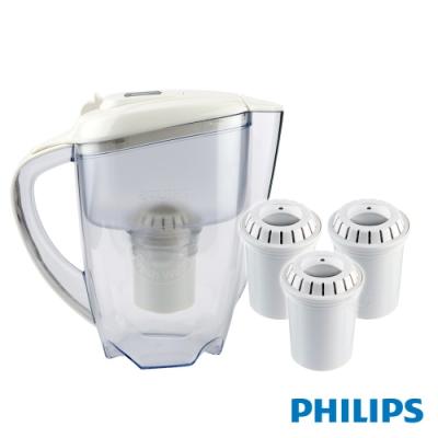 PHILIPS 飛利浦 AWP2920超濾帶計時器3.5L濾水壺+AWP201濾芯(三入)