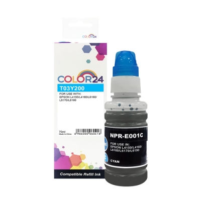 Color24 for Epson T03Y200/70ml 藍色防水相容連供墨水
