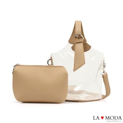 La Moda 夏日時尚元素可換背法透明果凍子母包(杏)