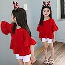 小衣衫童裝    中大童喇叭中袖美麗大紅上衣1070354