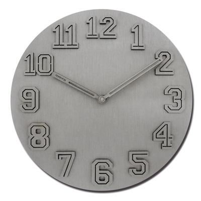 12吋 居家擺飾 輕薄簡約 球衣數字 金屬拉絲 餐廳客廳臥室 靜音 圓掛鐘 - 銀色