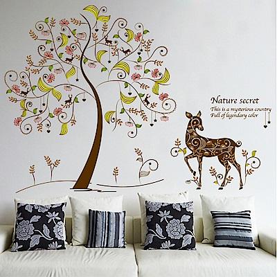半島良品 DIY無痕壁貼-彩樹花鹿 XL8152 60x90cm