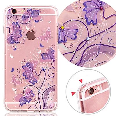 VAT APPLE iPhone6/6s 4.7吋 奧地利水晶彩繪氣墊手機鑽殼-紫蝶花