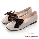 【CUMAR】極簡生活蝴蝶結裝飾皺褶平底鞋-芋色