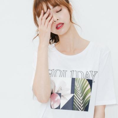 H:CONNECT 韓國品牌 女裝-度假彩圖圓領T-shirt-白