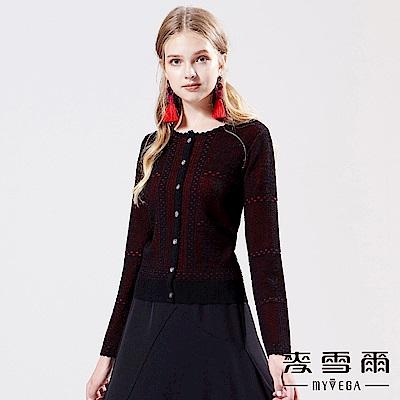 【麥雪爾】蕾絲勾織針織外套-黑