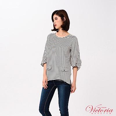 Victoria 拼接袖變化七分袖T-女-白色
