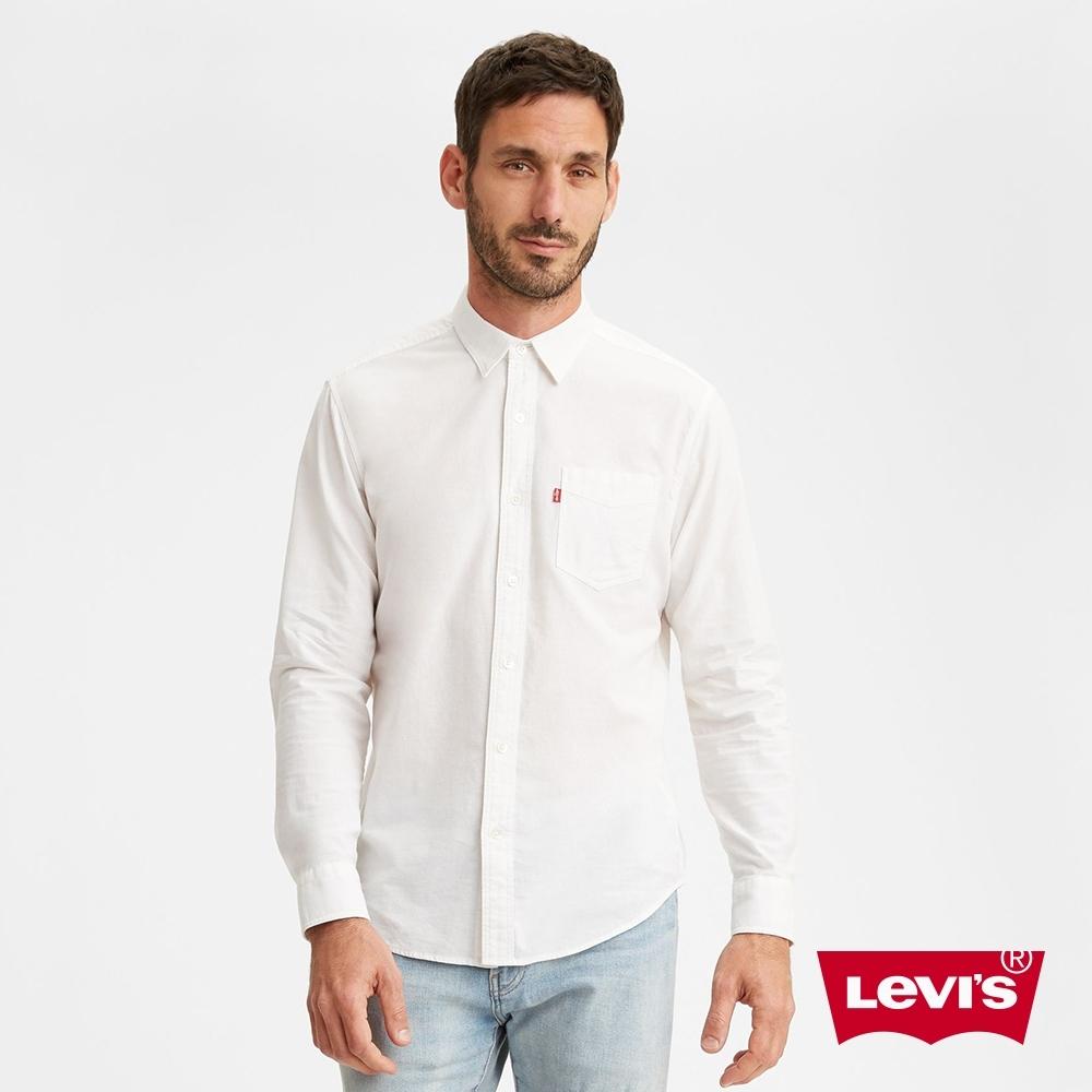 Levis 男款 單口袋長袖襯衫 休閒版型 簡約白