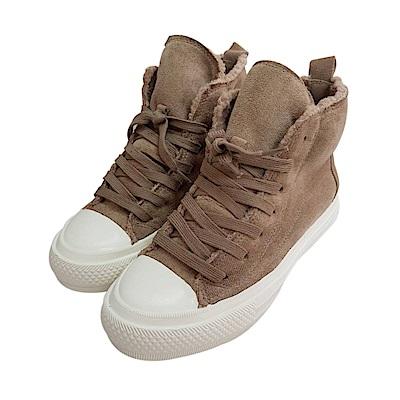 【AIRKOREA韓國空運】內鋪毛氣墊增高高筒拼接帆布鞋-棕-增高6cm