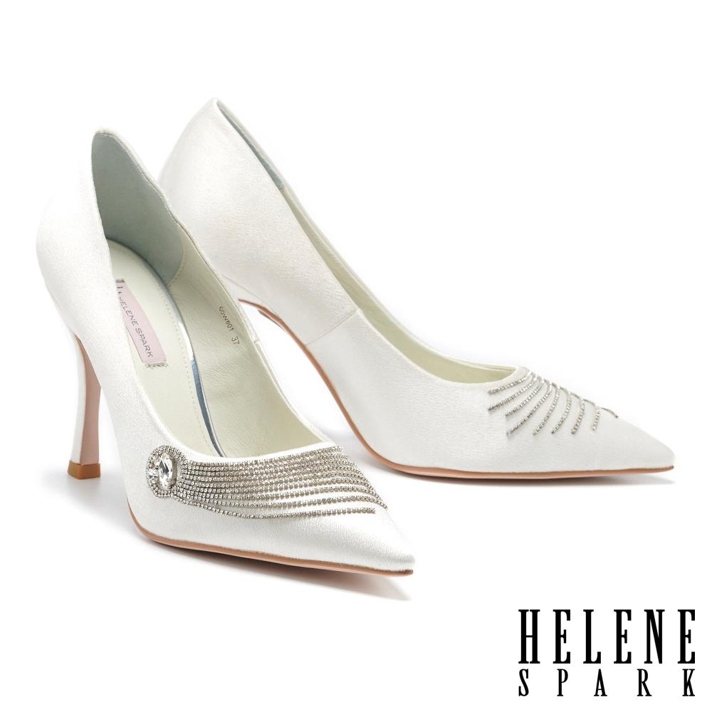 高跟鞋 HELENE SPARK 奢柔閃耀流蘇晶鑽尖頭美型高跟鞋-白