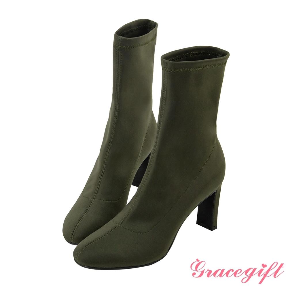 Grace gift X 許允樂-聯名視覺詐欺人氣襪靴 墨綠