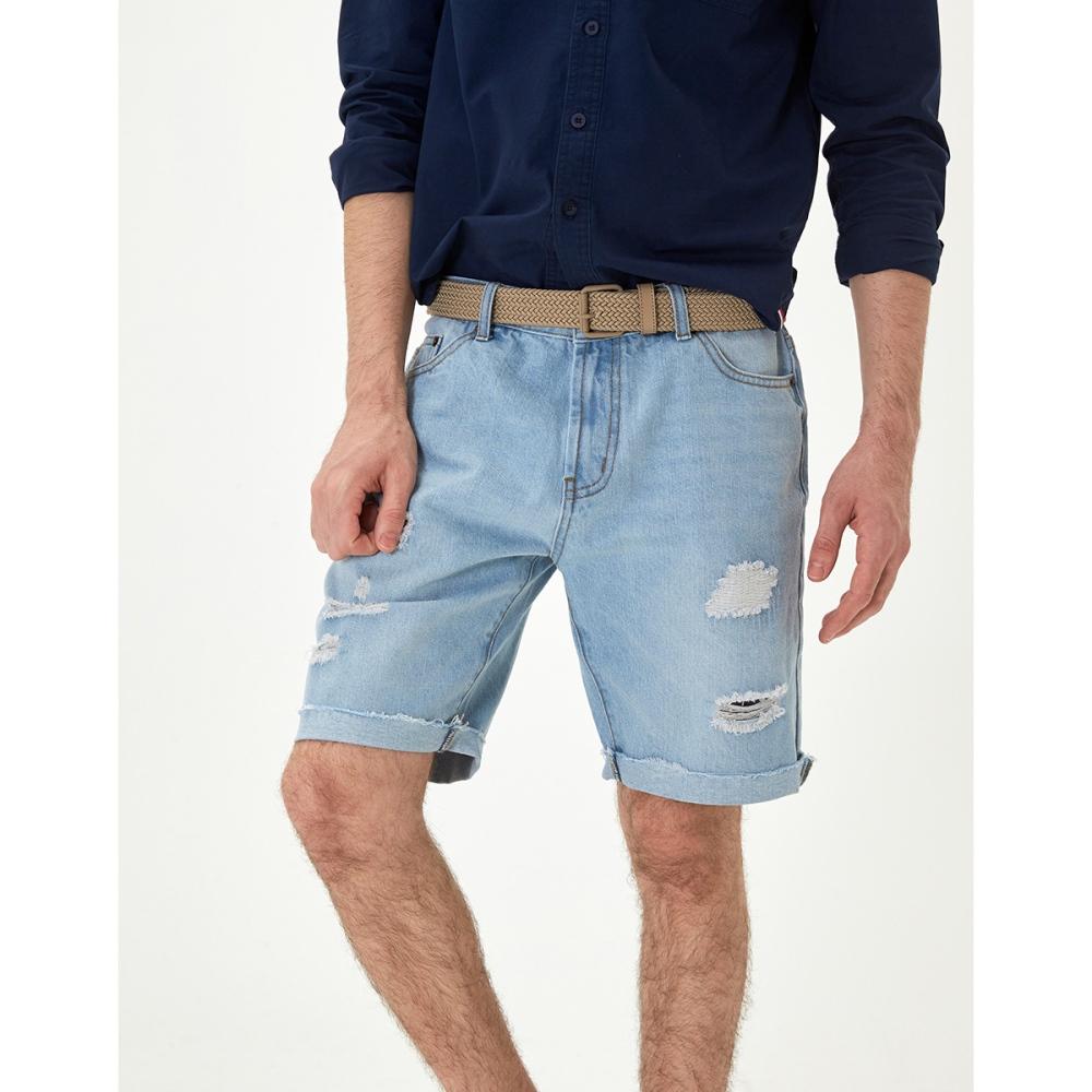 CACO-破壞牛仔短褲(兩色)-男【SAR035】