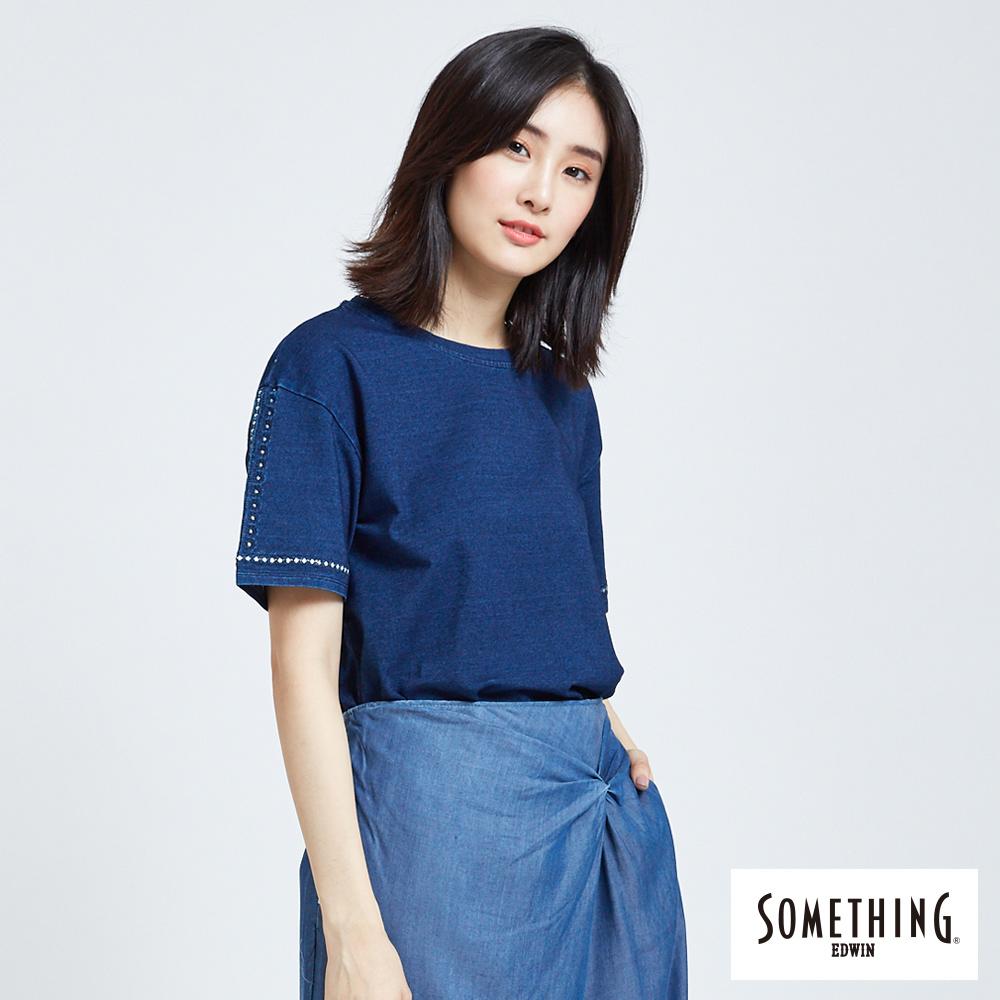 SOMETHING 刺繡圖騰圓領T恤-女-中古藍