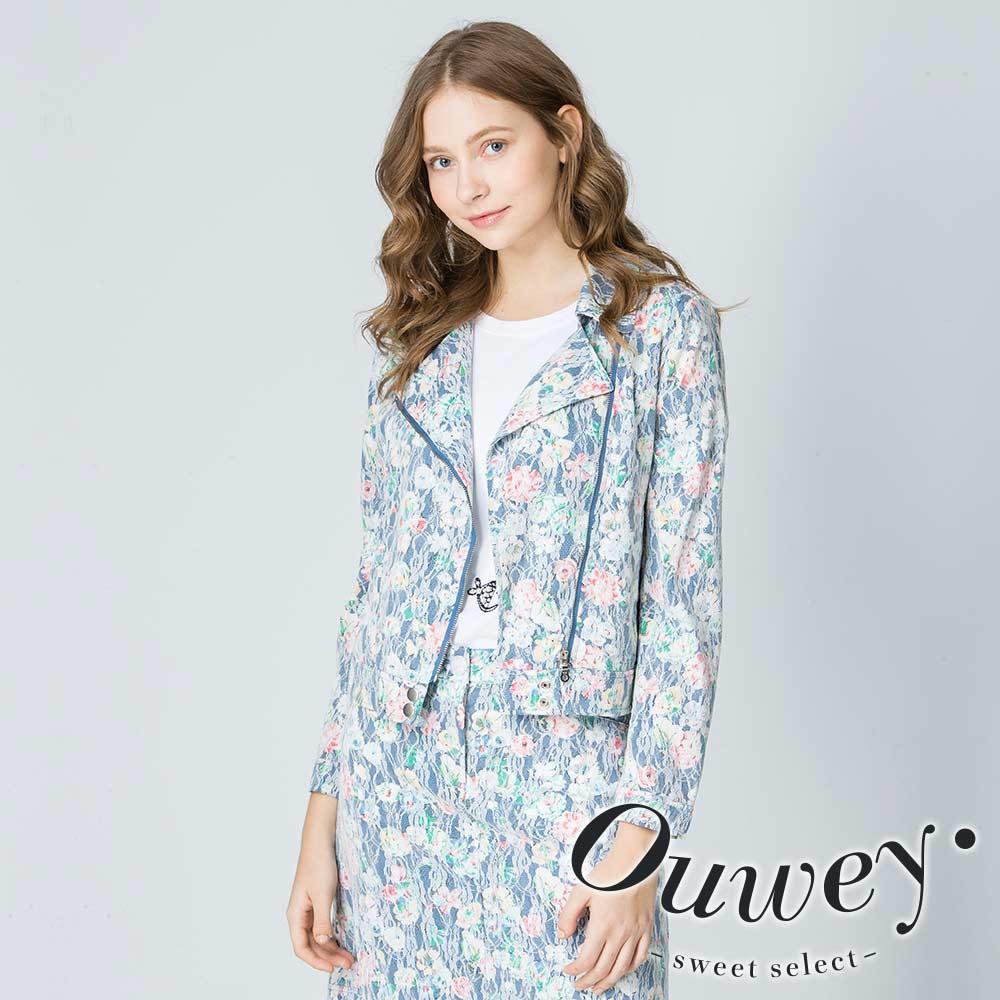 OUWEY歐薇 甜美搖滾蕾絲印花小外套