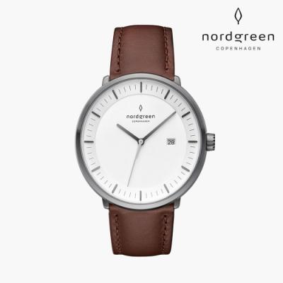 Nordgreen Philosopher 哲學家 深空灰系列 深棕真皮錶帶手錶 40mm