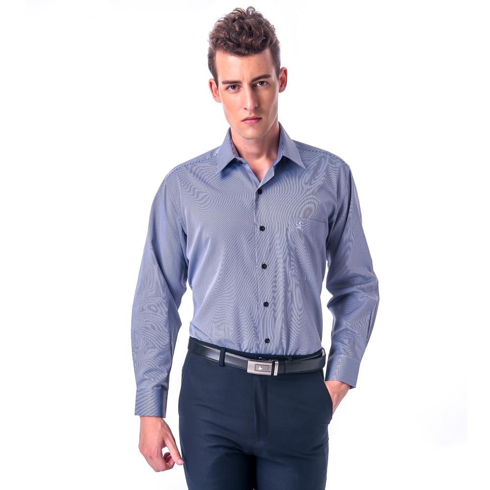 金‧安德森 深藍白細線條長袖襯衫