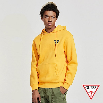 GUESS-男裝-純色經典倒三角LOGO小標長袖帽T-黃 原價3990