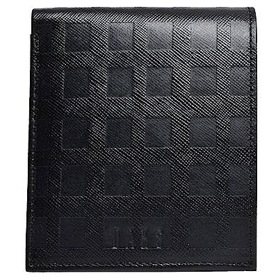DAKS 經典字母LOGO立體經典格紋四卡零錢短夾(黑)