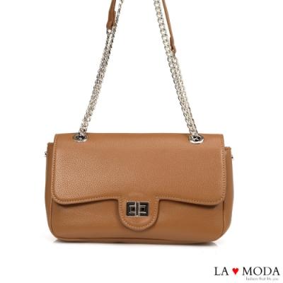 La Moda 完美名牌Look特色旋鈕肩背斜背鍊帶包(棕)