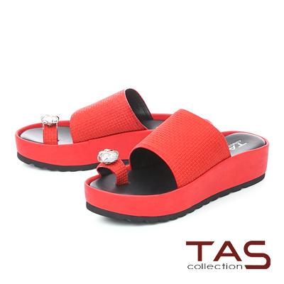 TAS水鑽拇指環格紋牛皮厚底拖鞋-熱情紅