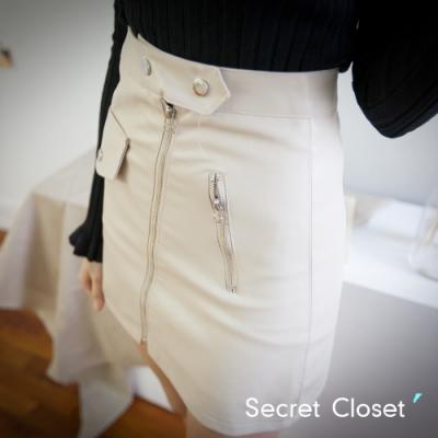 Secret Closet-拉鍊拼接水洗皮短裙