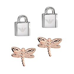 Emporio Armani亞曼尼 雙色成對蜻蜓鎖頭耳環 玫瑰金X銀