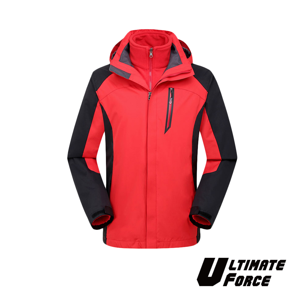 Ultimate Force「鋒速」男款兩件式防風雪外套-紅色