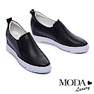 休閒鞋 MODA Luxury 極簡百搭實穿全真皮內增高厚底休閒鞋-黑