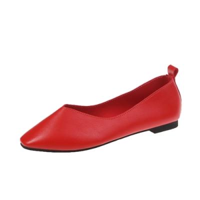 KEITH-WILL時尚鞋館 歡樂單品簡約時尚平底鞋-紅