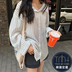 肌理直條紋休閒襯衫-TMH