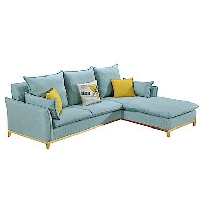 文創集 羅納德藍亞麻布L型沙發(二向)-245x185x100cm-免組