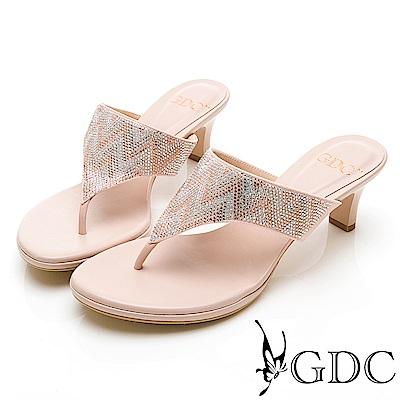 GDC-水鑽民族風高雅訂製款設計感夾腳拖鞋-粉色