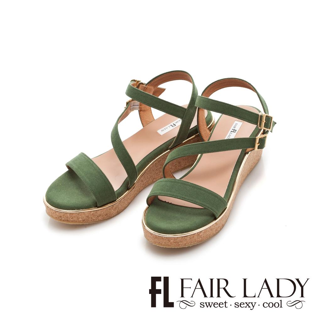 Fair Lady 一字繞帶木塞楔型厚底涼鞋 綠
