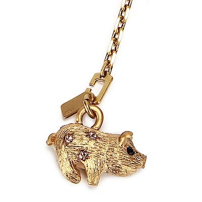 COACH 可愛小豬造型SWAROVSKI水晶吊飾-金色