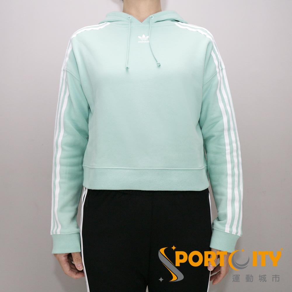ADIDAS 女連帽時尚落肩短版上衣 果綠 DH3131 @ Y!購物