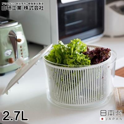 日本山研工業 日本製蔬果清洗脫水機/手轉瀝水籃/洗米器-小