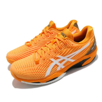 Asics 網球鞋 Solution Speed FF 2 男鞋 亞瑟士 緩衝 吸震 回彈 穩定 橘黃 白 1041A182800