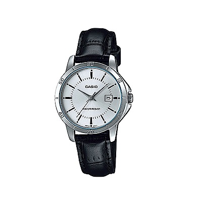 CASIO 都會白領羅馬指針日曆皮帶錶(LTP-V004L-7A)-銀面/30.2mm