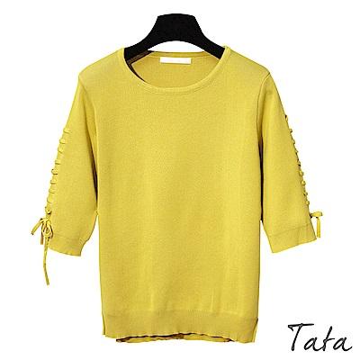七分袖開叉綁帶上衣 共三色 TATA