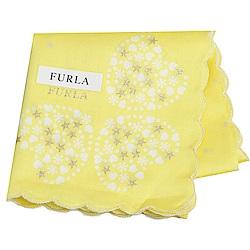 FURLA 可愛繽紛愛心荷葉邊字母LOGO帕領巾(螢光黃)