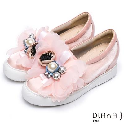 DIANA 網路獨家—漆皮絲綢布珠飾花朵厚底休閒x婚鞋-粉