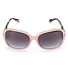 COACH 雙C LOGO綴飾琥珀色鏡架抗UV太陽眼鏡-粉紅/銀