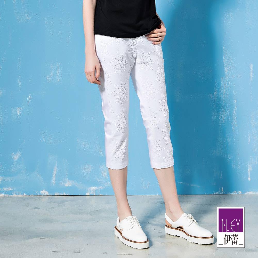 ILEY伊蕾 星星造型縷空刺繡棉質窄管褲(黑/白)