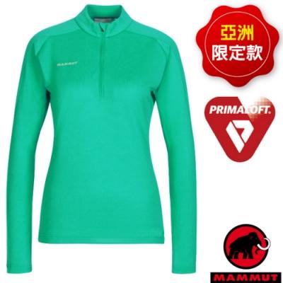 長毛象 PERFORMANCE Thermal Zip 女新款 Primaloft 長袖薄款透氣排汗衣.運動休閒衫_暗綠瓷