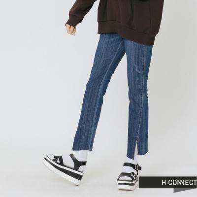 H:CONNECT 韓國品牌 女裝 - 隨性缺口設計牛仔褲-藍(快)