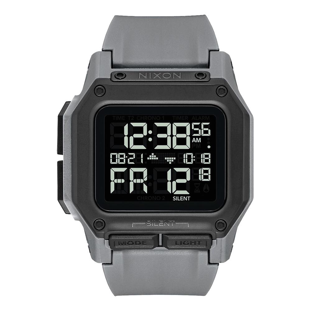 NIXON 時代科技多功能電子腕錶(A1180632)-灰/46mm
