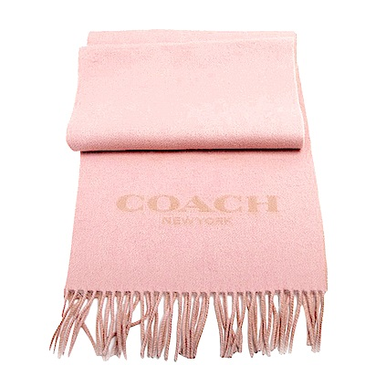 COACH 經典LOGO羊毛羊絨流蘇式圍巾-粉COACH