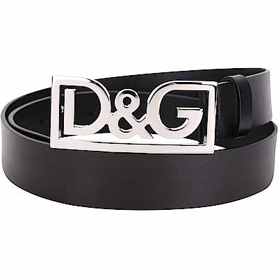 DOLCE & GABBANA  光滑小牛皮銀字鏤空金屬扣腰帶(黑色)