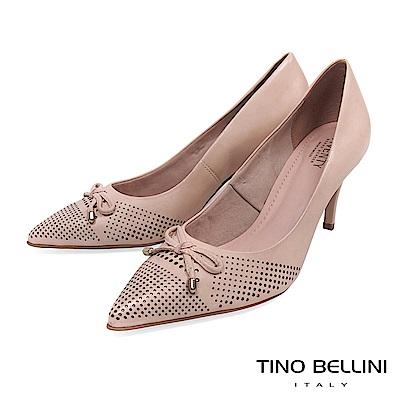 Tino Bellini 巴西進口典雅蝴蝶結沖孔尖楦跟鞋 _ 粉