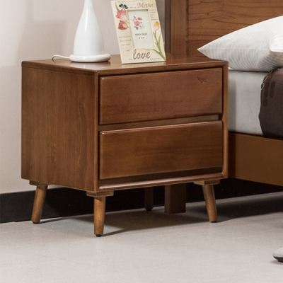 Bernice-丹肯1.8尺實木二抽床頭櫃/收納櫃-55x45x55cm